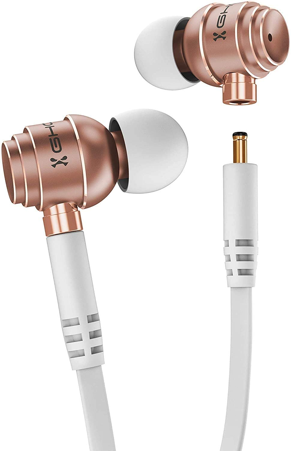 Ghostek Fuze Wireless and Wired Earbuds Best Headphones for Sport Gym and Running Ear Buds with Microphone Unique AirPods and Earphones for iPhone, Galaxy, Pixel, iPad - (White/Rose Gold)