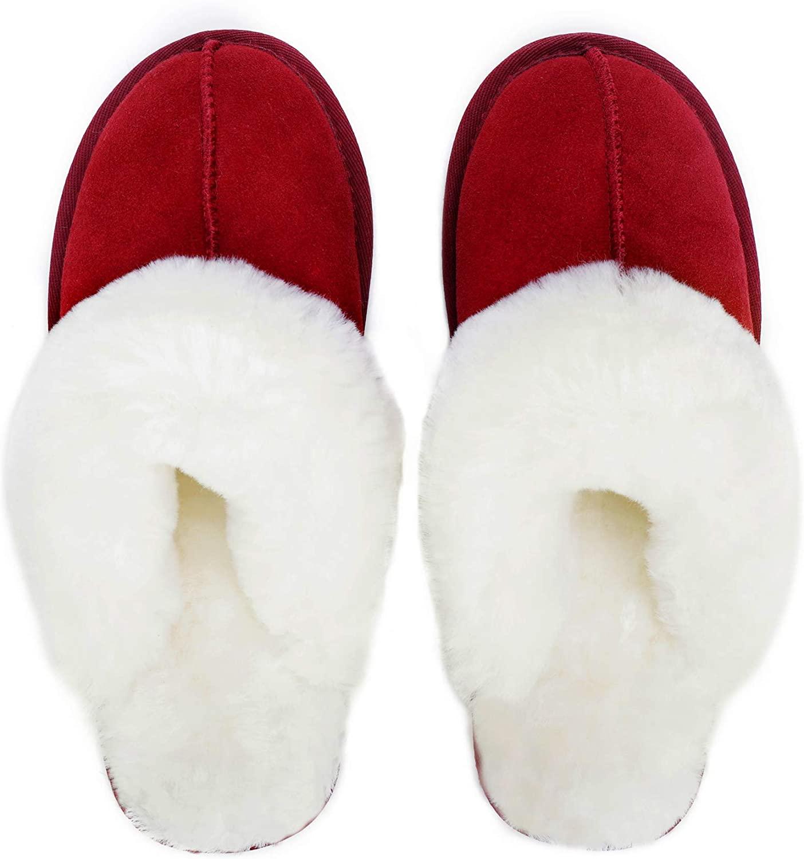 Mosa Women's Genuine Leather Scuff Australian Sheepskin Collar Slippers