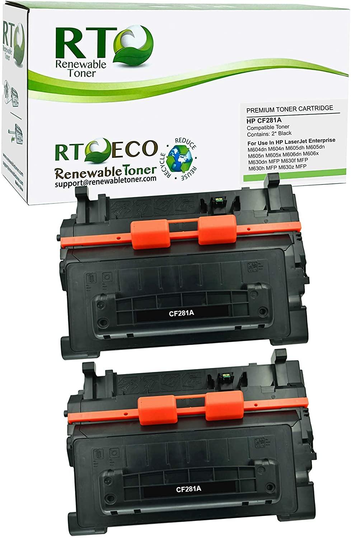 Renewable Toner Compatible Toner Cartridge Replacement for HP CF281A 81A LaserJet Enterprise M604 M605 M606 M630 MFP (Black, 2-Pack)