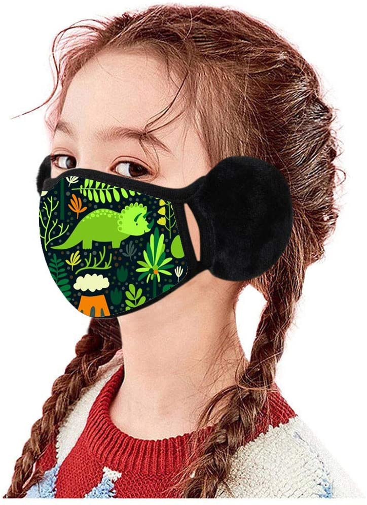 Gerichy Face_Masks with Winter Earmuffs for Boys Girls - Kids Cute Cartoon Printed Plush Reusable Washable Breathable Face Ear Protection