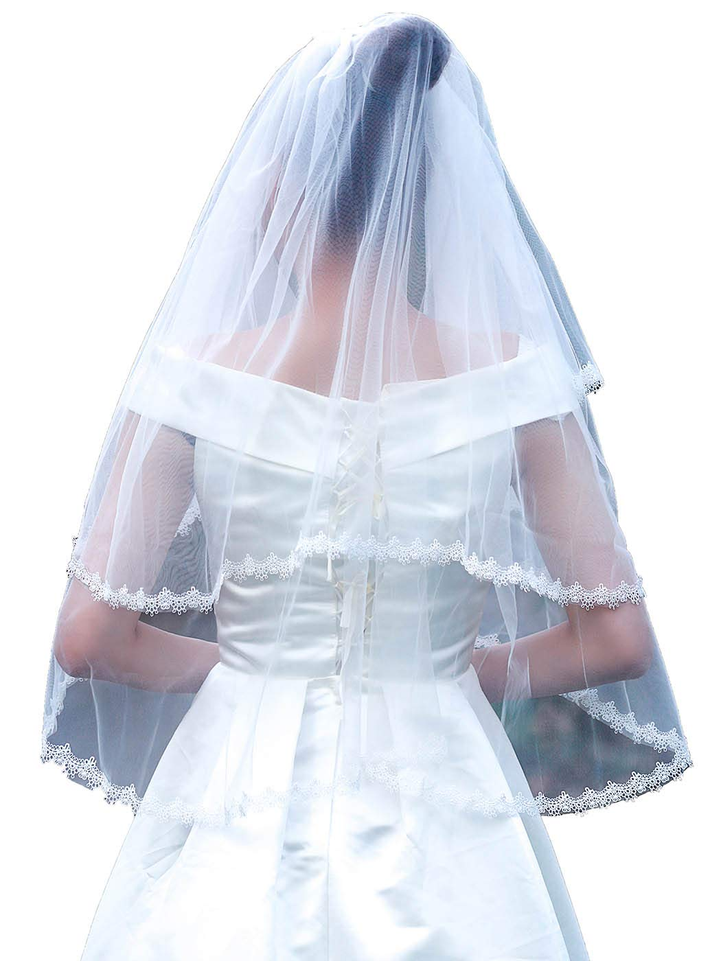 Yokawe Women's Wedding Bridal Veil 2 Tier Lace Applique Edge Bride Veils with Comb Fingertip Length Wedding Headpiece (White)