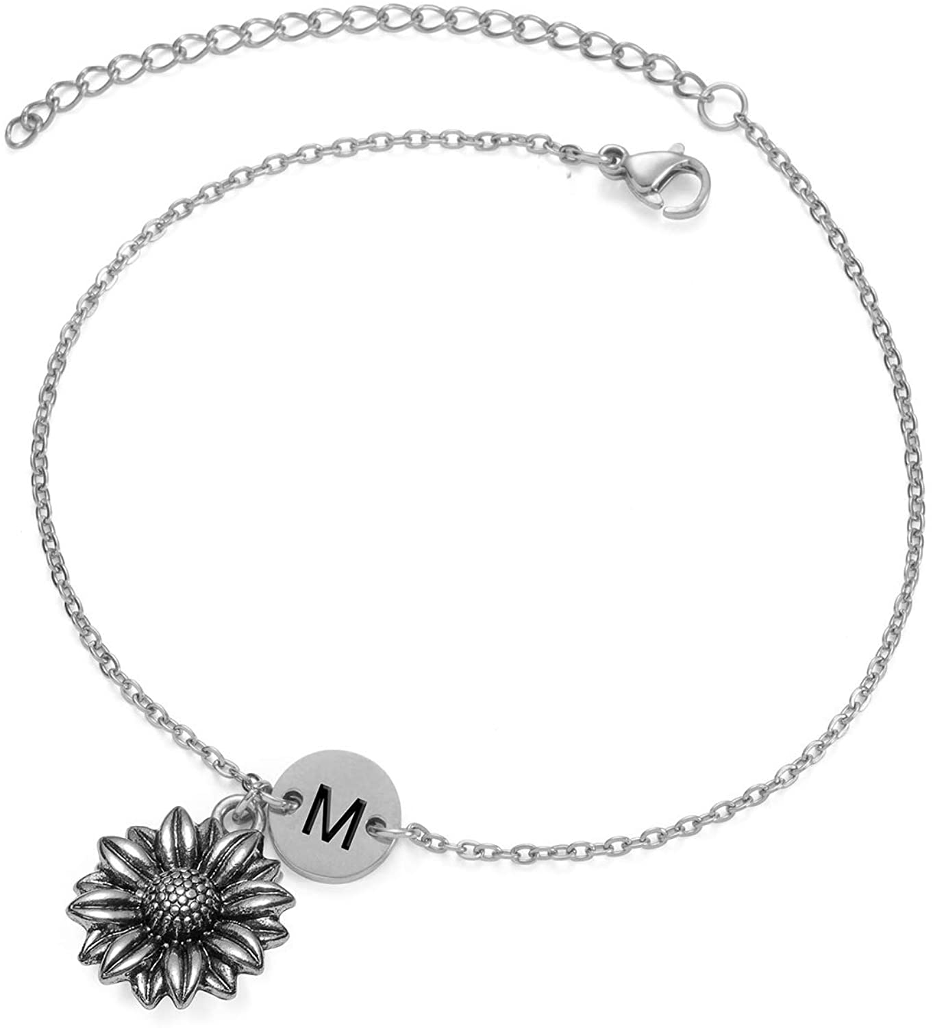 Joycuff Sunflower Bracelets for Women Teen Girls Daughter Best Friend You're My Sunshine Initial Jewelry Birthday Gifts for Her