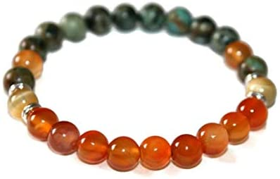 Personalized Gift 8mm Stretchable Green & Orange African Turquoise & Carnelian Bracelet Round, Smooth 7