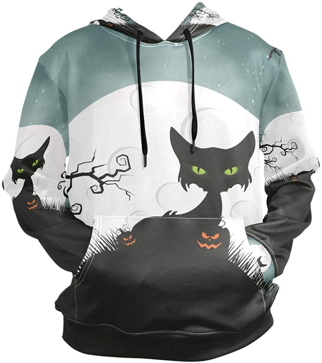 Halloween Cat Hoodies 3D Print Athletic Hooded Sweatshirts for Men Girls Boys(Health Fabric)