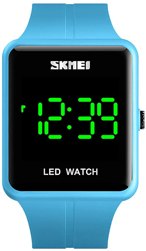 Unisex Square LED Digital Watch Fashion Water Resistant Silicone Sports Wrist Watches