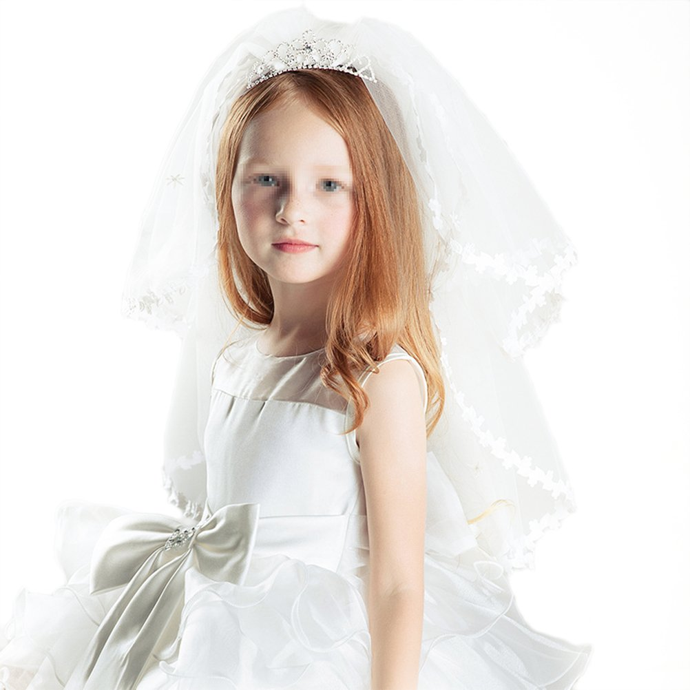 Frcolor Girl's First Communion Veil with Flower Tiara Crown