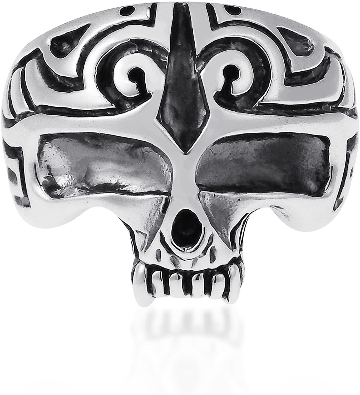 AeraVida Men's Biker Half Skull .925 Sterling Silver Ring (13)
