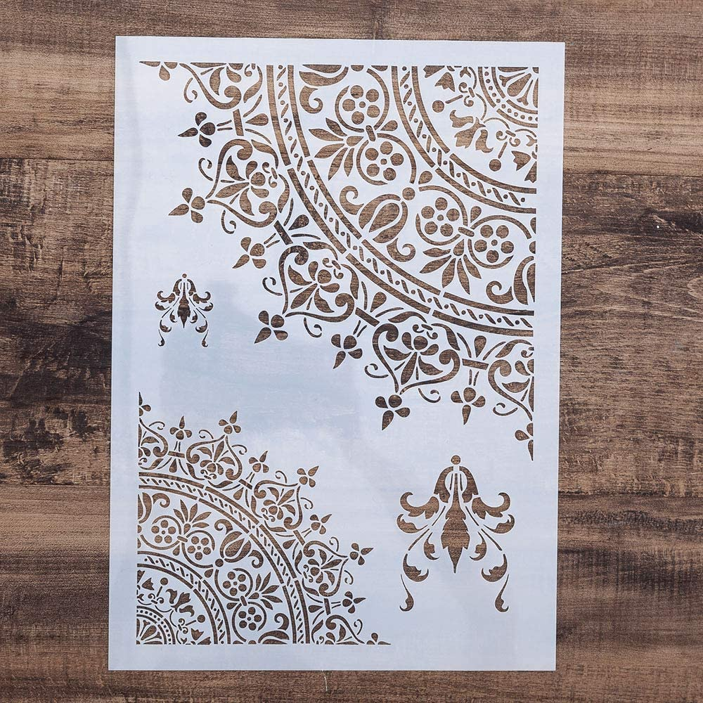 Azefun DIY Painting Drawing Stencils Mandala Template for DIY Painting Art Projects, Reusable (A4 Size)