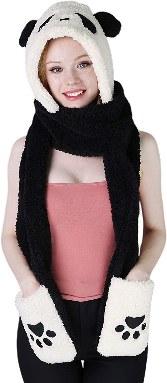 Winter Warm Plush Furry Hooded Scarf Animal Cute Panda Hats 3 in 1 Set Paw Gloves Pocket Soft Ear Flap Cap