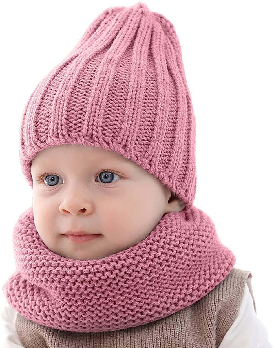 Yesbaby Kids Winter Hat Scarf Set Baby Toddler Winter Warm Knitted Hat Neckerchief Set for Boys Girls
