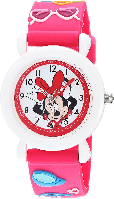 DISNEY Girls Minnie Mouse Analog-Quartz Watch with Plastic Strap, Pink, 16 (Model: WDS000389)