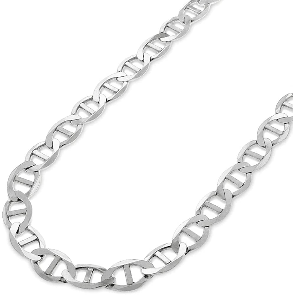 Verona Jewelers 925 Sterling Silver 3.5MM, 4.5MM, 5.5MM, 6.5MM, 8MM Solid Flat Mariner Link Chain Necklace- Sterling Silver Necklace Chain, Men and Women, Made in Italy 18