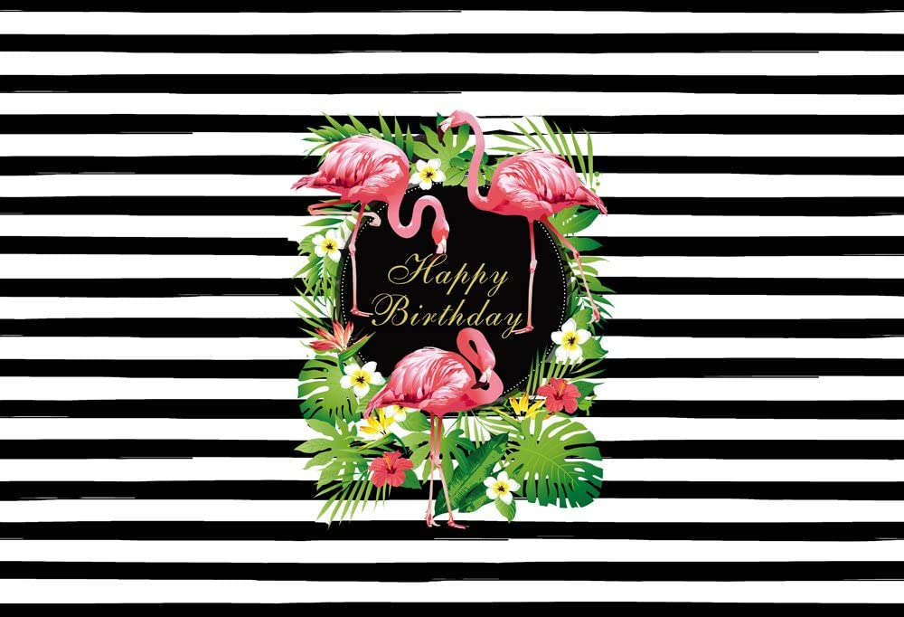 HUAYI 6.5x5ft Wedding Background Baby birthday banner Flamingo vinyl backdrop polyster Black and white stripes backdrop Photography Backdrops Rose Flower Floral Background W-302