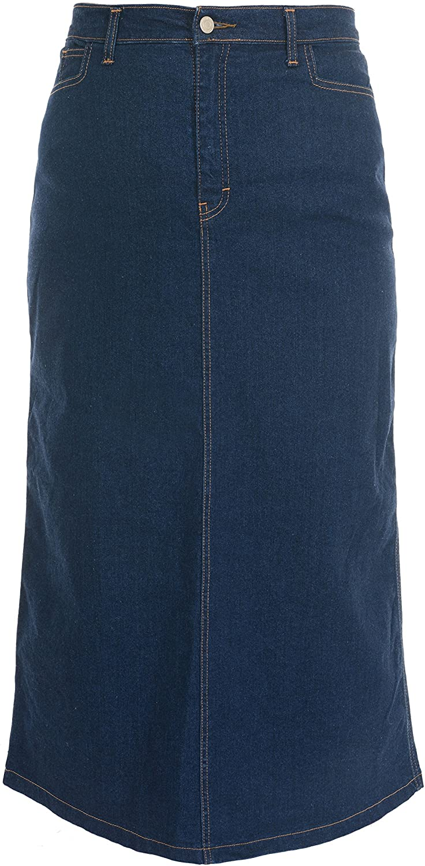 Ice Cool Ladies Women's Indigo Stretch Denim Maxi Skirt Sizes 10 to 28. Length 35