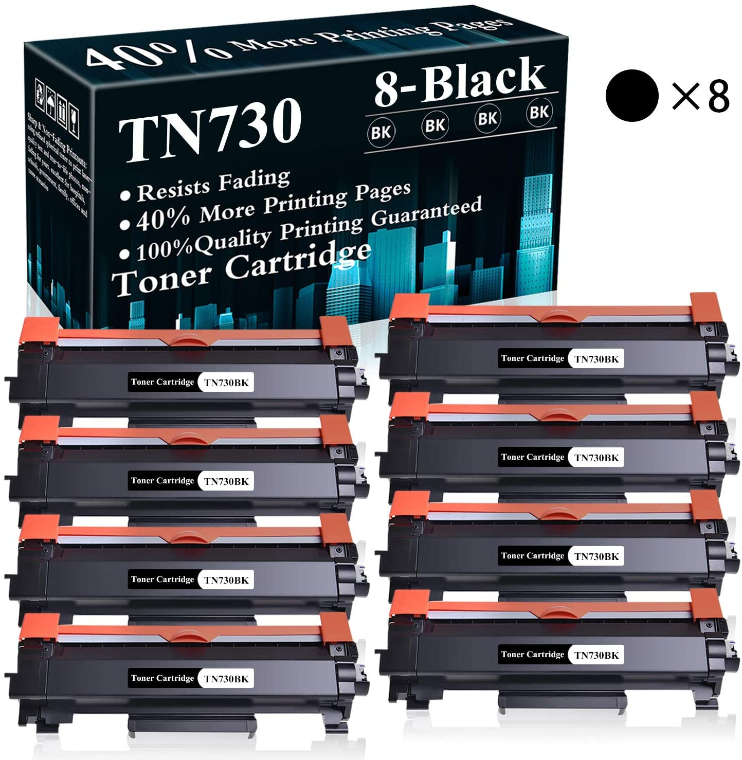 8 Black TN730 Toner Cartridge Replacement for Brother DCP-L2550DW MFC-L2710DW L2750DW L2750DWXL HL-L2350DW HL-L2370DW L2390DW L2395DW Printer,Sold by TopInk