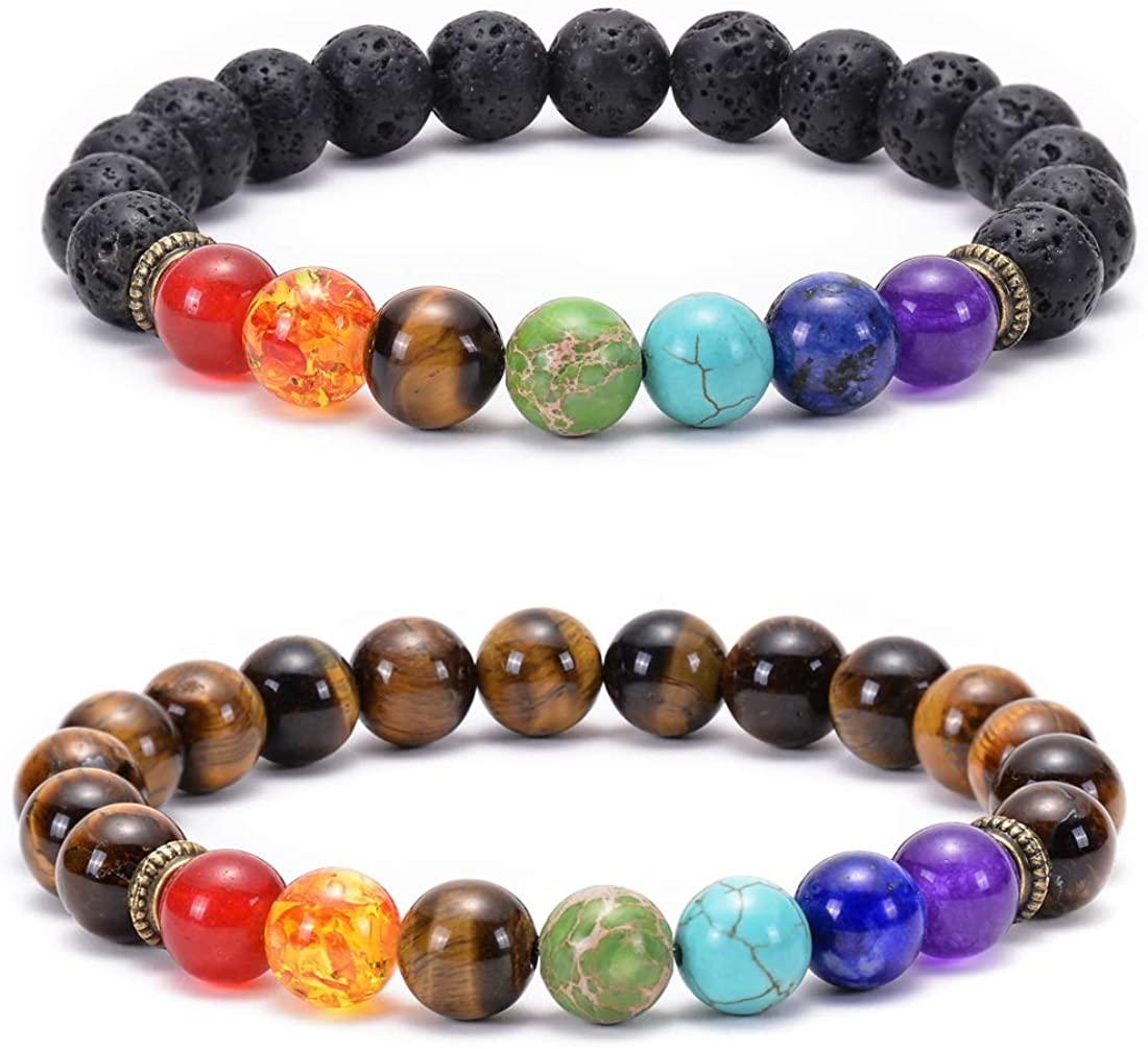 GelConnie Lava Rock Chakra Bracelet 7 Chakra 8mm Natural Stone Healing Bracelet Stress Relief Yoga Beads Anxiety Bracelet Aromatherapy Essential Oil Diffuser Bracelet Bangle