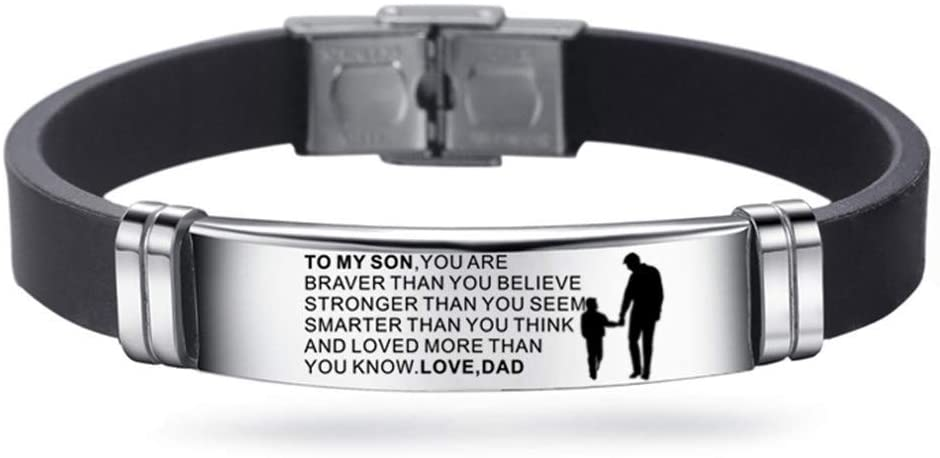 Son Bracelet from Mom and Dad Steel & Silicone Bracelets Inspirational Bracelet,Graduation,Birthday to Son,Christmas Day,Thanksgiving Day (Silver-A, D)