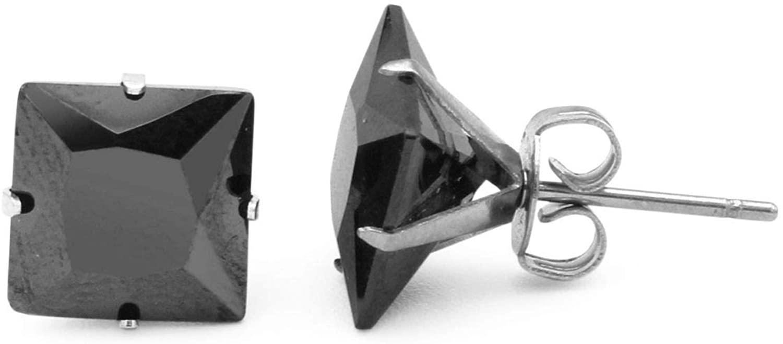 BEBERLINI Stud Earrings Square Cubic Zirconia Push Back 14K Gold Plated Black Silver Stainless Steel CZ Ear Piercing Jewelry For Women Men 3-10 mm
