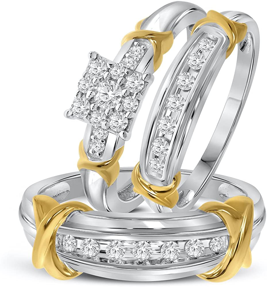 3/4ct Simulated Diamond Yellow Gold Plated 925 Sterling Silver Wedding Ring Trio Set Ring Him US10 and Her US7 For Wedding Engagement