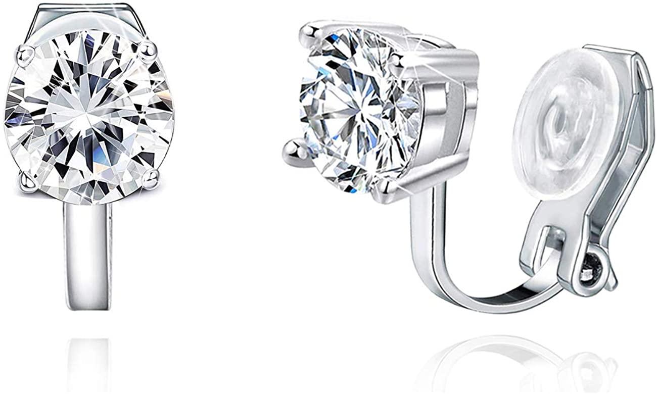 XGALBLA 6MM/8MM Cubic Zirconia CZ Clip On Stud Earrings Round Non Pierced For Women Girls