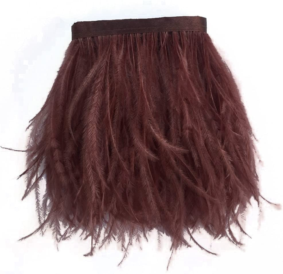 MELADY 10 Yards Fashion Dress Sewing Crafts Costumes Decoration Ostrich Feathers Trims Fringe with Satin Ribbon Tape (Brown)
