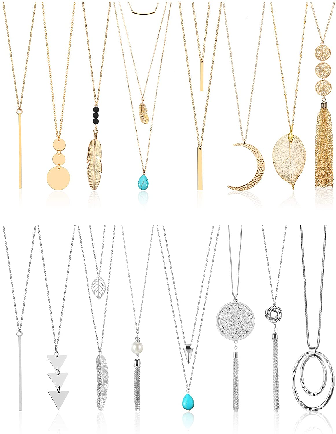 16 Pieces Long Necklaces for Women Tassel Sweater Necklaces Bar Layer Three Triangle Knot Disk Pendant Necklace Set, Gold and Silver