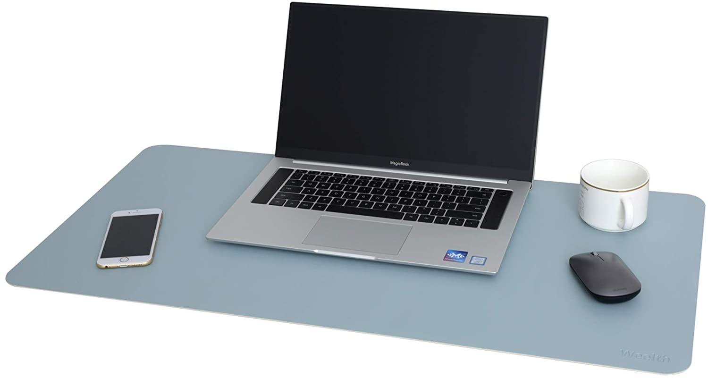 Dual-Sided Desk Pad, Office Desk Mat, PU Leather Desk Blotter, Laptop Desk Mat, Waterproof Desk Writing Pad for Office and Home (Light Blue/Sliver, 31.5