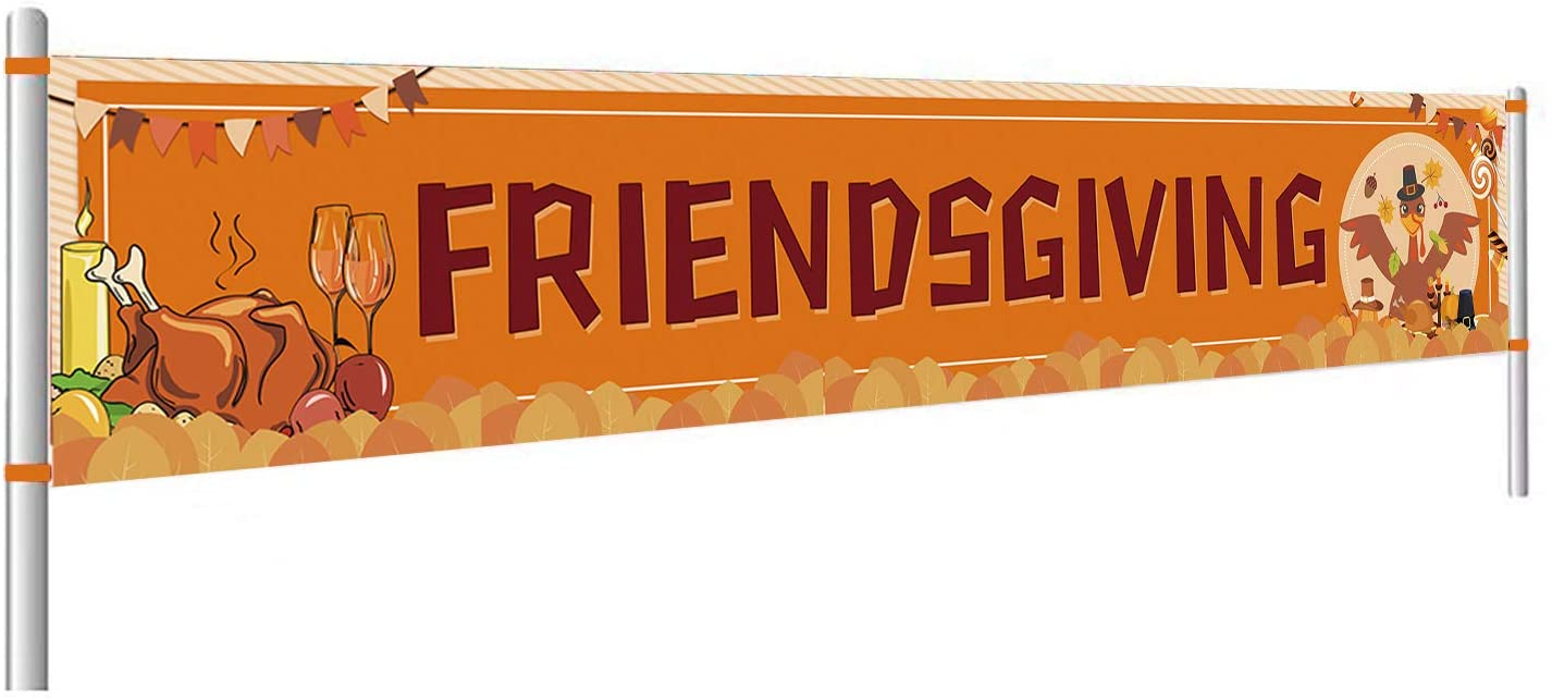Friendsgiving Banner,Thanksgiving Decorations,Friendsgiving Decorations Supplies,Thanksgiving Pumpkin and Turkey Banner,Thanksgiving Friendship Party Decorations