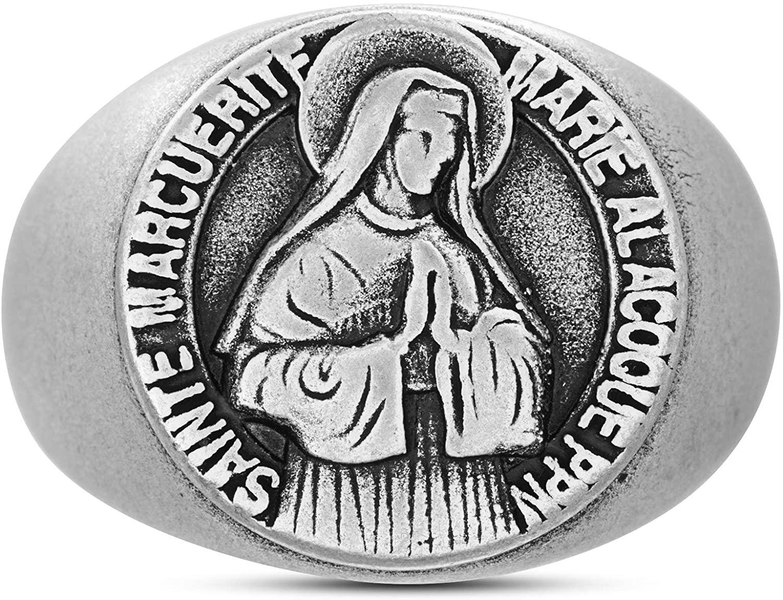 Steve Madden Oxidized Stainless Steel Saint Marguerite Faith Design Ring For Men
