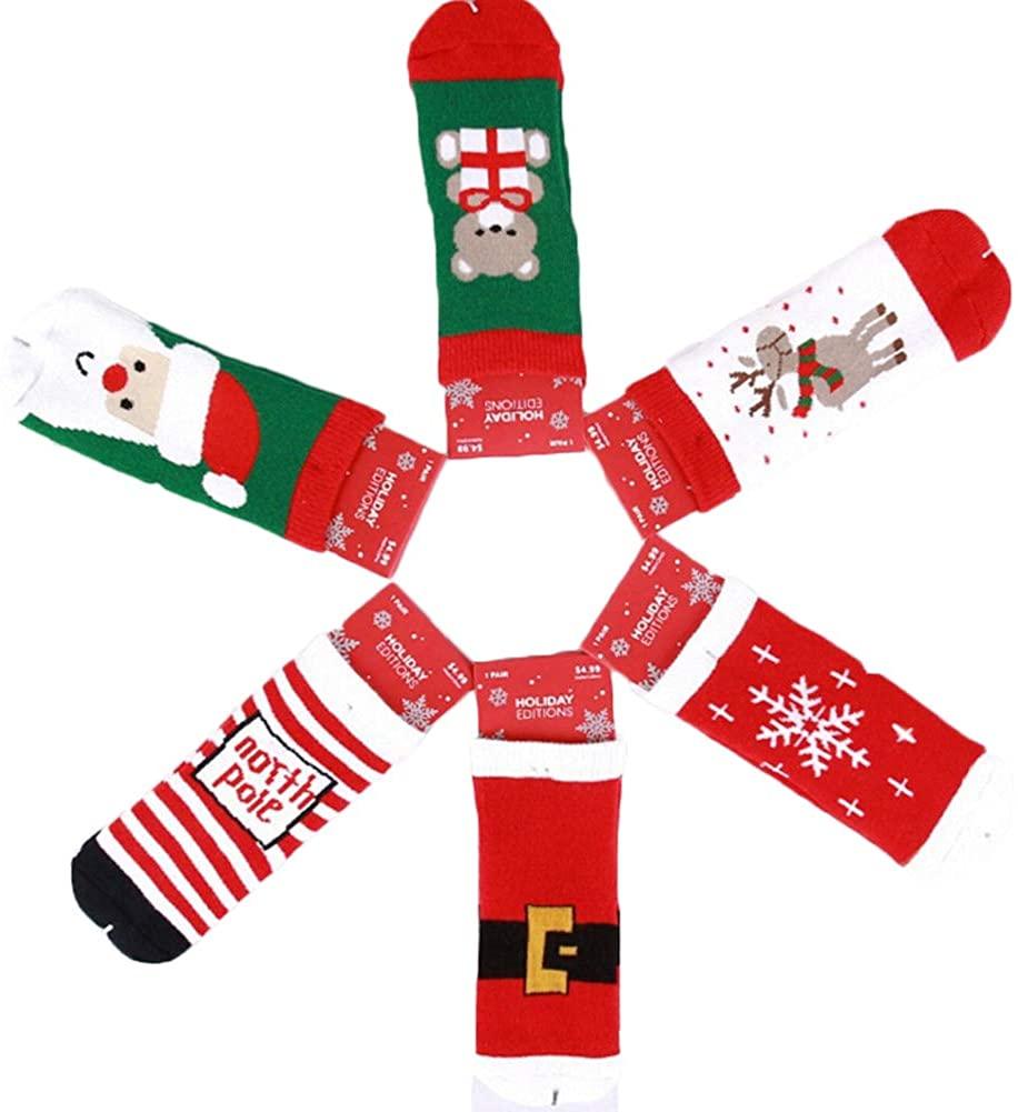 Dejian 6 Pairs Unisex Toddler Baby Socks Anti Slip Stretch Knit Christmas Cartoon Pattern Socks For Infant Kids 0-8 Year Old