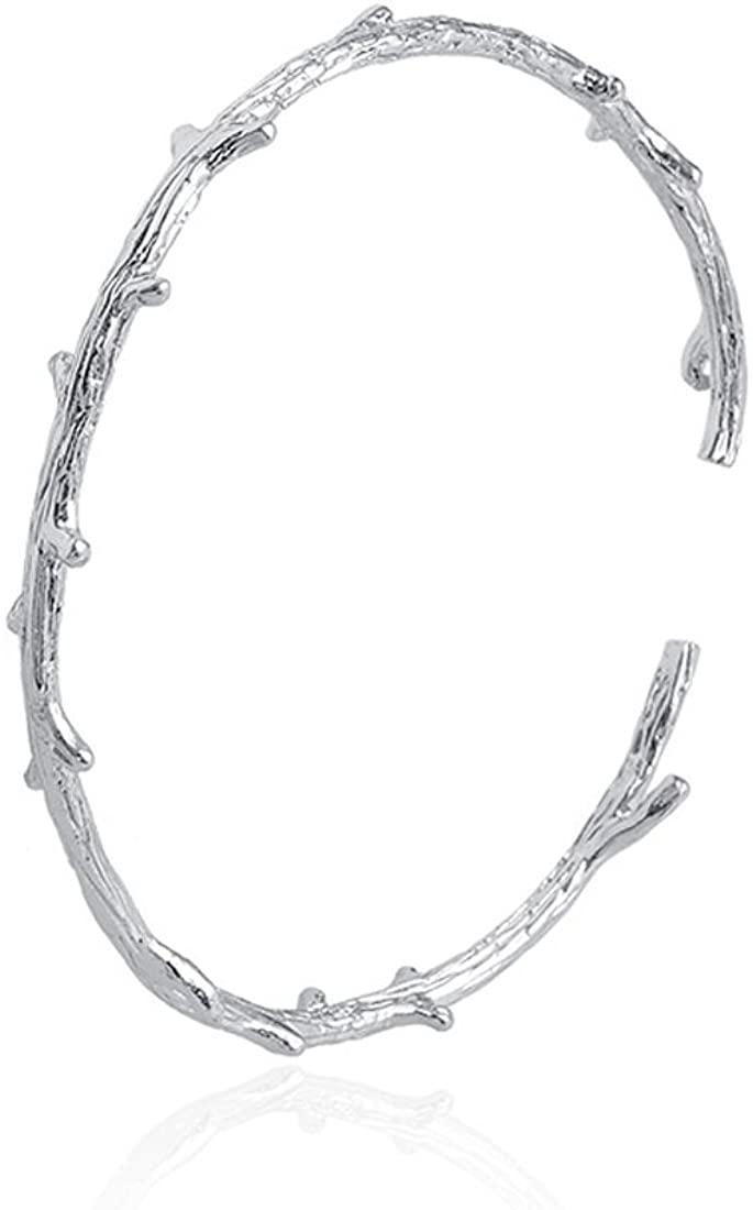 JJTZX Rustic Branch Bracelet Twig Cuff Bangle Bracelet Personalized Leaf Bracelet Minimalist Natural Cuff Bracelet Gift for Her