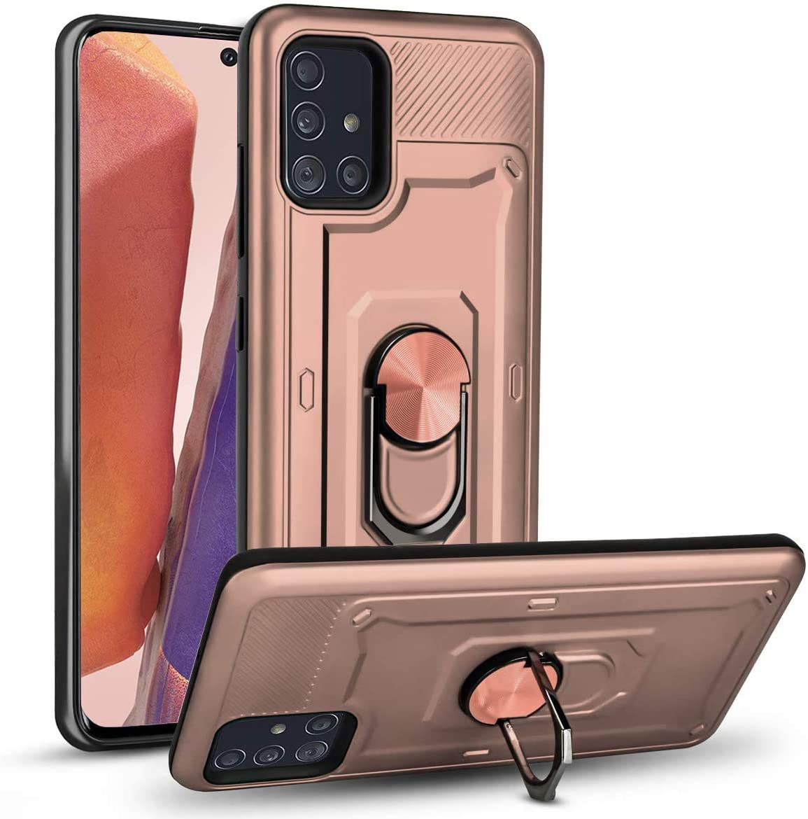 Nititop Compatible Samsung Galaxy A71 5G Case [NOT for Verizon A71 5G UW] with Built-in 360° Rotatable Ring Holder Kickstand Support Car Mount Shockproof Armor Dual Layer 2 in 1 for A71 5G -Rose Gold