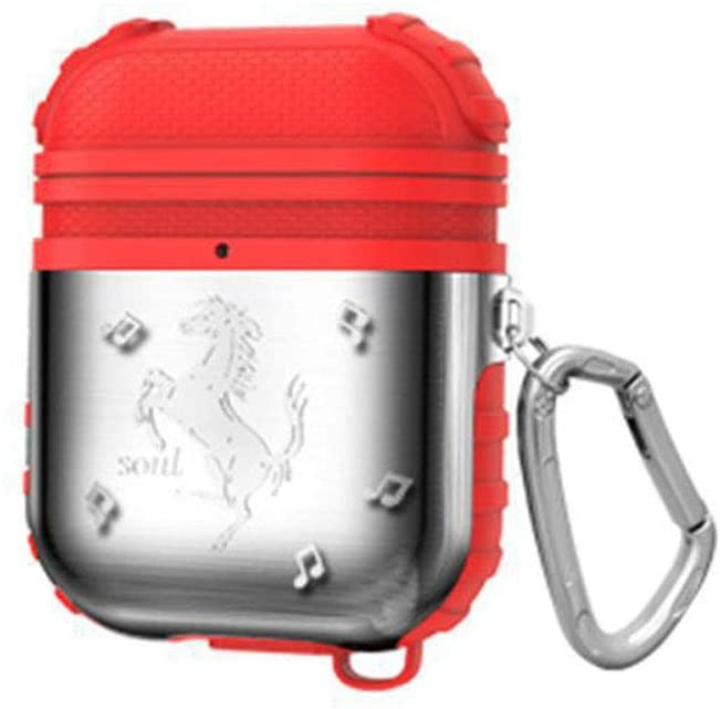 ICI-Rencontrer 3D Vivid Galloping Horse Airpods Case Creative Cool AirPods Accessories Metal Plating Soft Silicone Dual Layer Dual Protection Shock-Resistant Chargeable Headphone Case Keychain Red