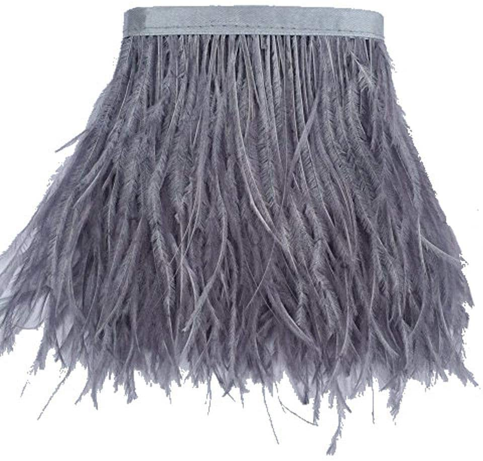 KOLIGHT Pack of 10 Yards Natural Dyed Ostrich Feathers Trim Fringe 4~5inch for DIY Dress Sewing Crafts Costumes Decoration (Gray)