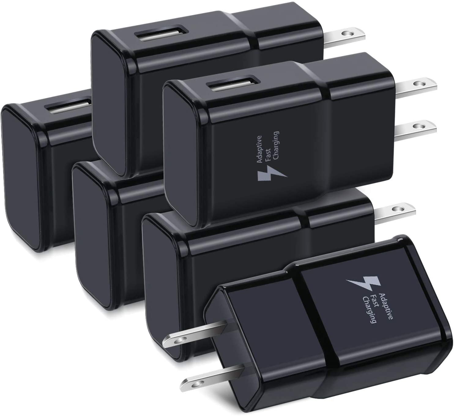 Adaptive Fast Charging Wall Charger Adapter, Qihop 6-Pack Fast Charging Block Travel USB Charger Plug Compatible Samsung Galaxy S20 S10 S9 S8 S7 S6 Edge/Plus/Active,Note 8 9 10, iPhone,LG,HTC (Black)
