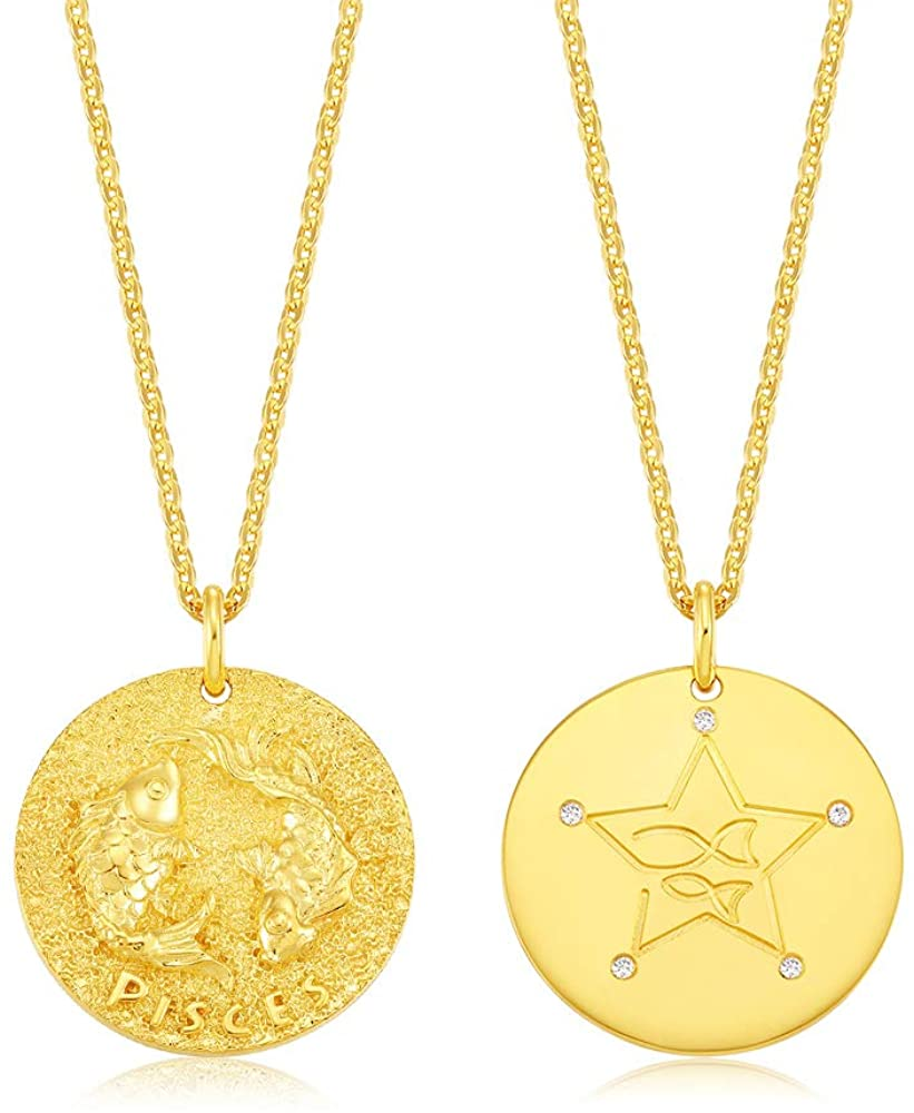AMIREUX Cubic Zirconia 12 Constellations of The Zodiac on Double Sided Gold Plated Coin Pendant Necklace - Aries