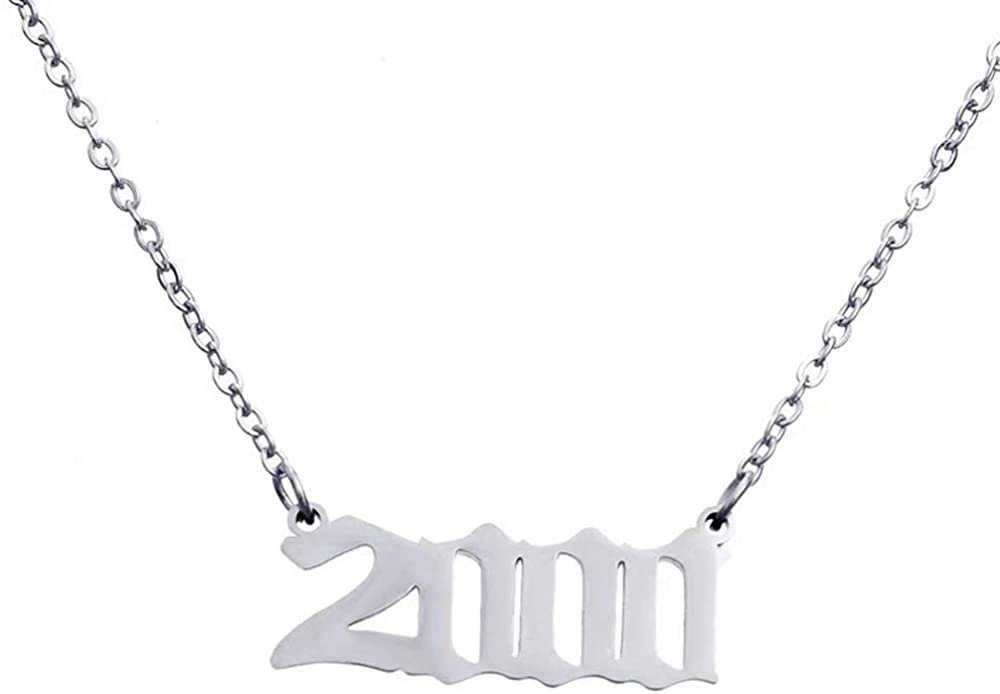 OSPRER Birth Years Necklace,Initial Year Number Pendant Necklace Birthday Gift Charm Friendship Old English Arabic Mumerals Stainless Steel Necklace Jewelry for Women Girl 1990-2000