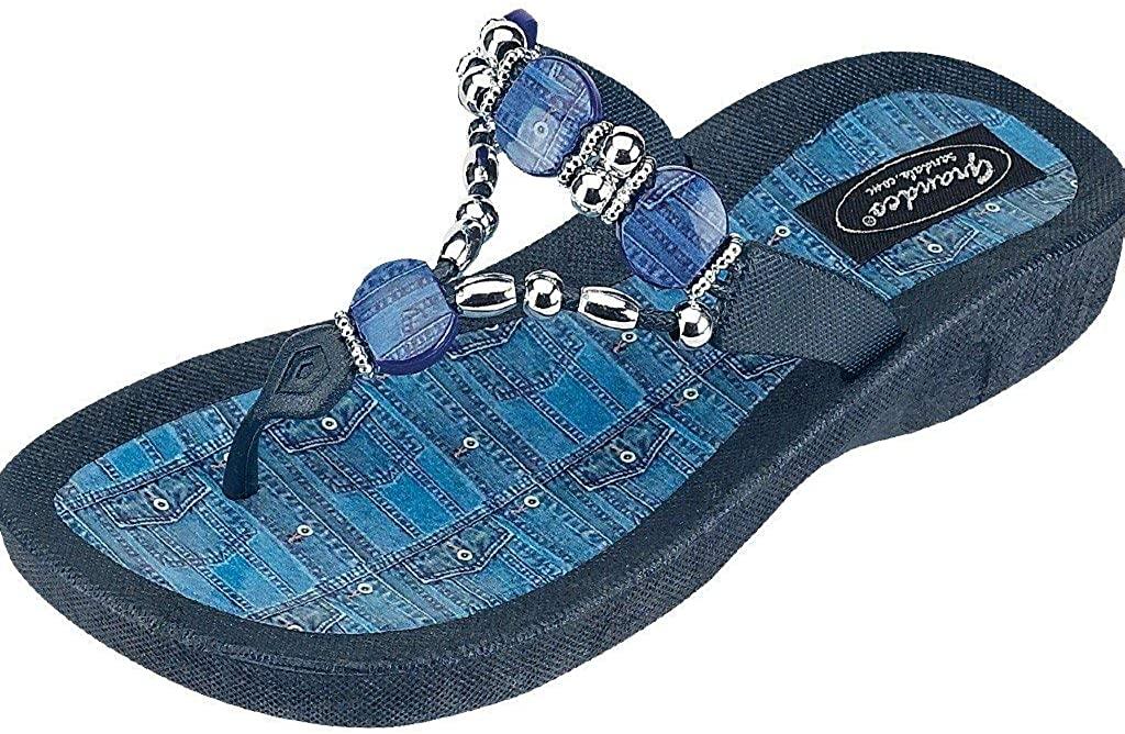 Grandco Women's Denim Beaded Waterproof Molded Summer Sandals, Black, 7