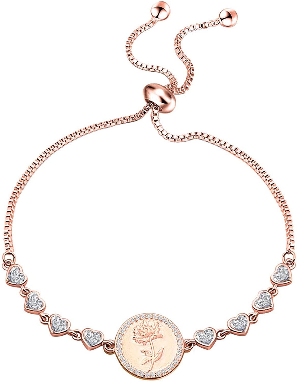 ENSIANTH Birth Flower Bracelet Adjustable Bracelet Birthday Gift for Women Girls