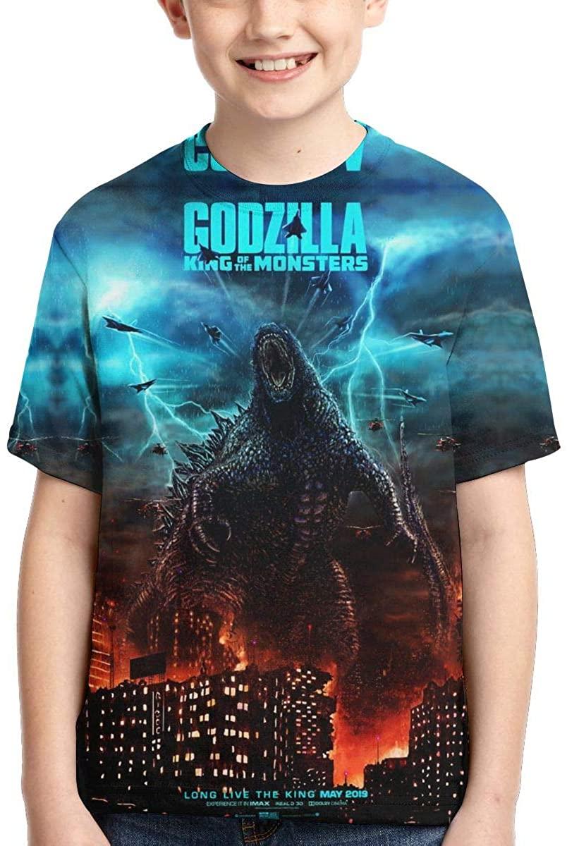 Godzilla Boys Girls T-Shirt Novelty Short Sleeve Teenager 3D Printed Tee