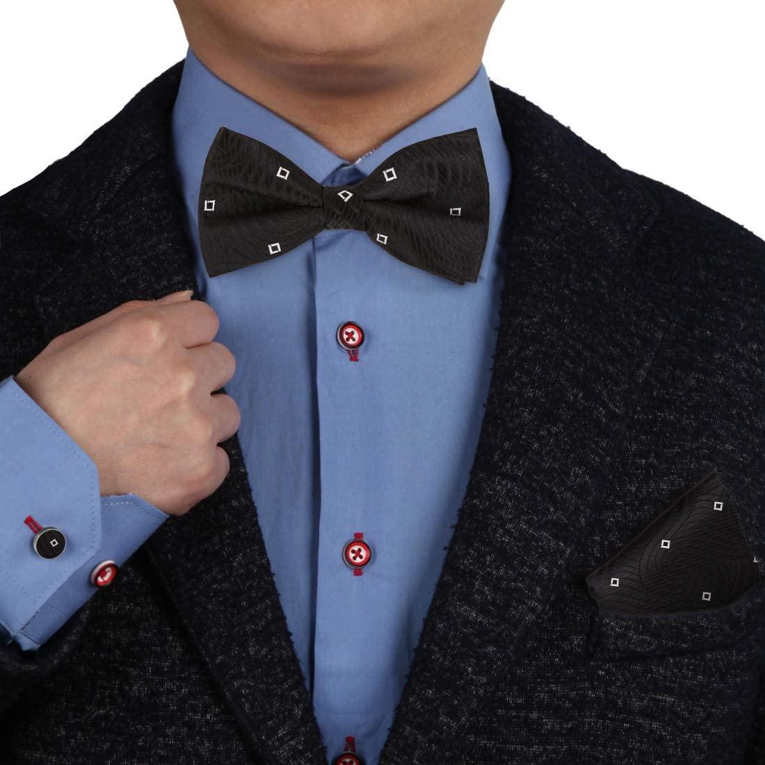 Epoint Mens Fashion Multicolored Patterned Silk Pre-tied Bowtie Cufflink Hanky Set