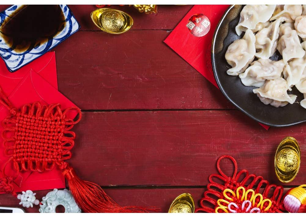 Leyiyi 5x3ft Chinese New Year Backdrops Chinese Knot Gold Ingot Red Envelopes Dumplings Background for Photography Wooden Floor Video Photo Studio Prop Backdrop Curtain