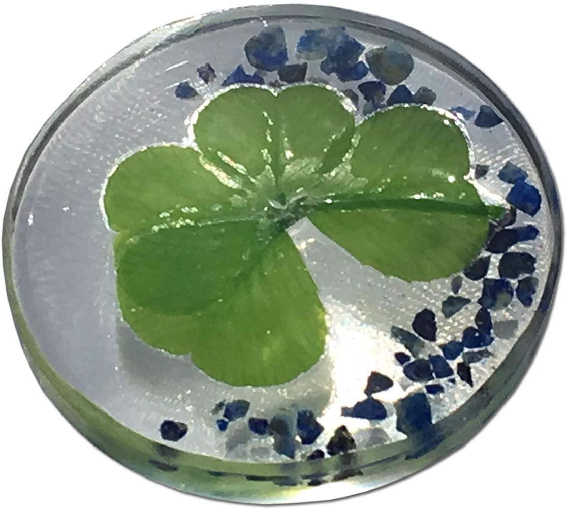 """KIN-HEBI Real Four Leaf Clover Good Luck Pocket Token, Preserved, 1.25"""" (Including Lapis-Lazuli)"""