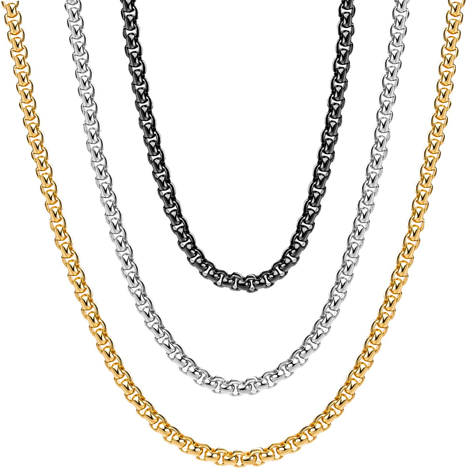 Monily 2-7mm 16-38In Square Rolo Stainless Steel Chain Necklace Round Box Necklace Men Women Jewellery