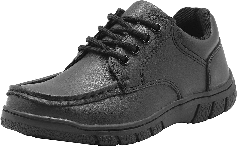 Apakowa Boys School Uniform Shoes Adjustable Strap Comfort Dress Loafer Shoes (Toddler/Little Kid/Big Kid)