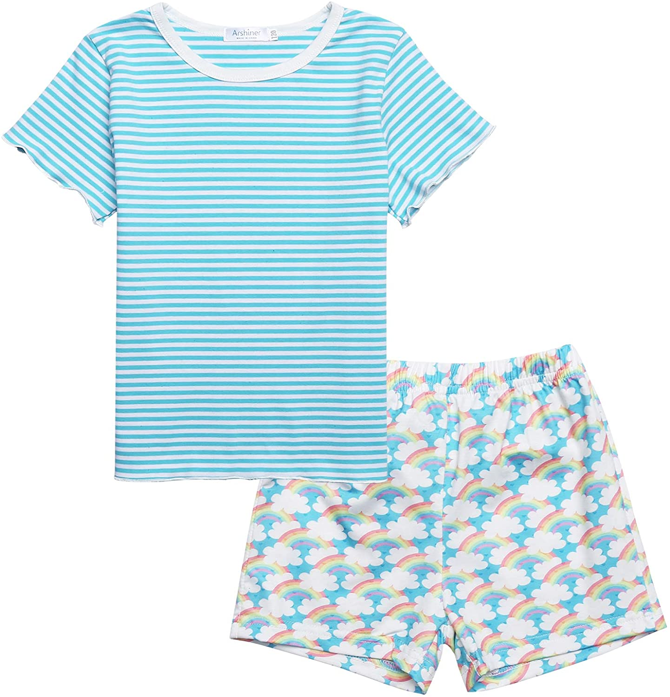 Kids Pajamas Short Sleeve Cotton Summer PJS Stripe Rainbow Daisy Floral Pattern Girls Sleepwear Pajama Set 5-12 Years
