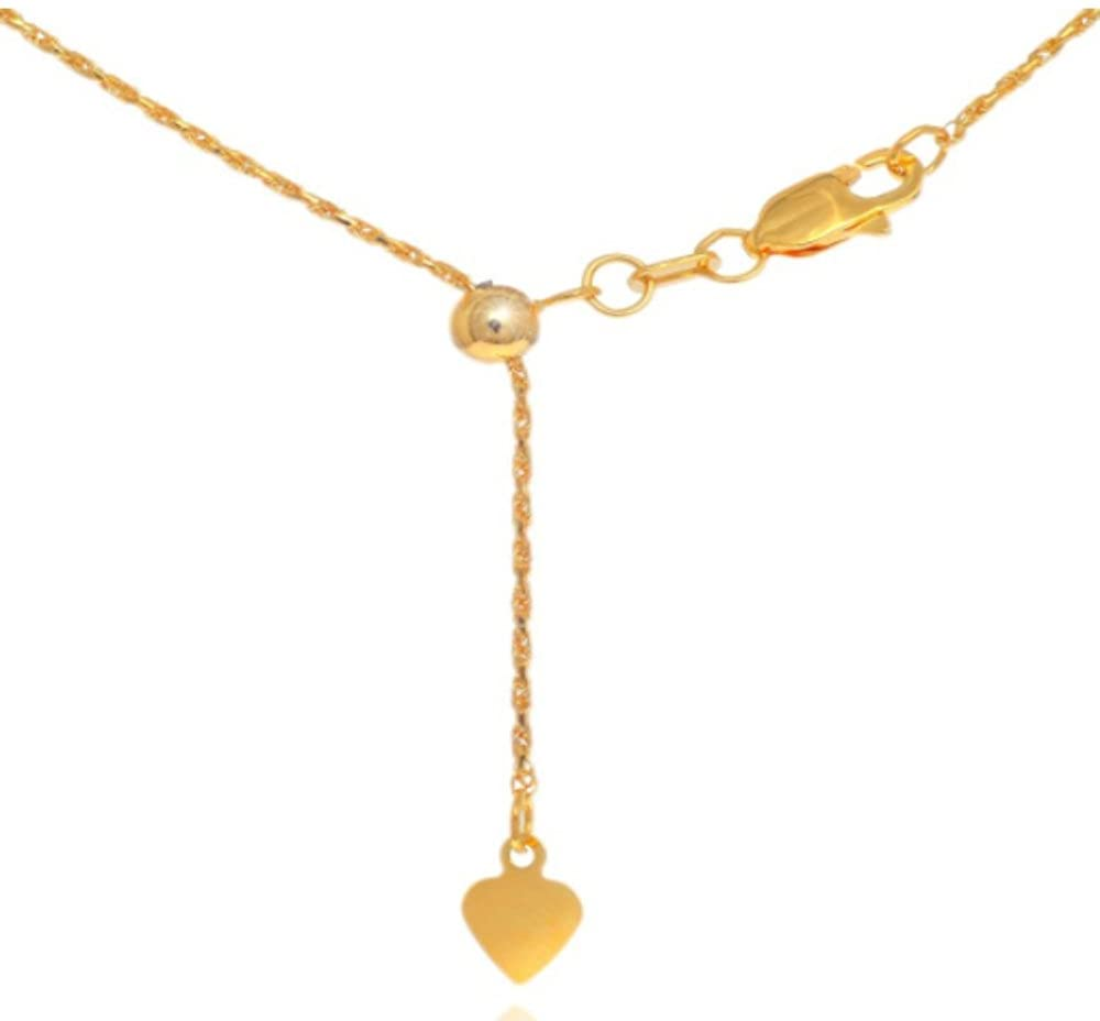 10K Yellow Gold 1.0mm Diamond Cut Adjustable Rope Chain with Lobster Clasp