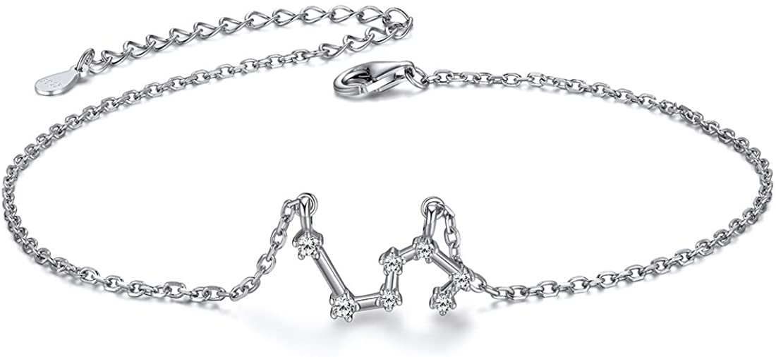 ChicSilver 12 Constellation Zodiac Anklet for Women Girls Sterling Silver Cubic Zirconia Horoscope Ankle Bracelets, 8