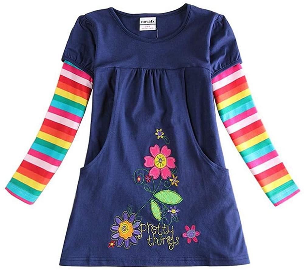 Jxs Neat Juxinsu Girl Long Sleeve Cotton Stripe Dresses Kids Clothes for 1-6 Years AL6499