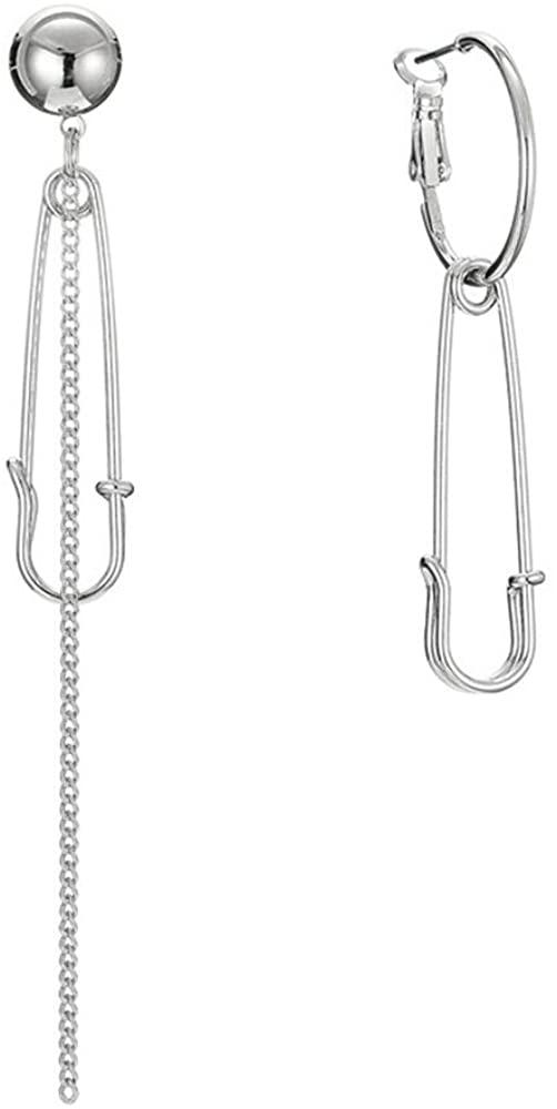 Long Asymmetric Pin Chain Drop Earring for Women Men - Tassel Irregular Safety Pin Earrings